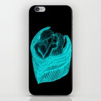 Angels Kissing in green and black design iPhone & iPod Skin
