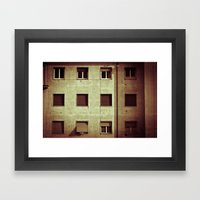 Windows with man Framed Art Print