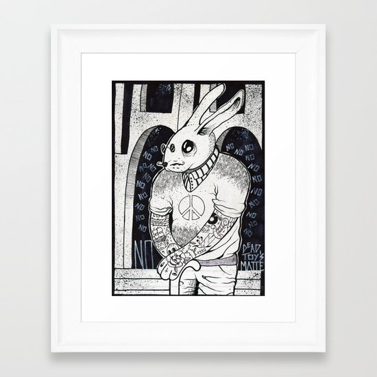 Hipster Bunny Says NO to everything  Framed Art Print