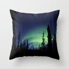 Aurora Borealis Landscape Throw Pillow