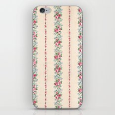 Vintage Pink Floral Stripes iPhone & iPod Skin