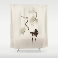 Oriental style painting, Red-crowned Crane Shower Curtain