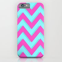 iPhone & iPod Case featuring 3D CHEVRON TEAL & PINK by natalie sales