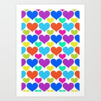 Bright Hearts Art Print