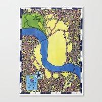 Tiny Underdog City Map Canvas Print