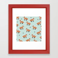 Cute fall woodland smiling foxes illustration pattern Framed Art Print