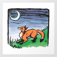 Fox and the Moon Art Print