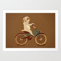 Puppy on the bike Art Print