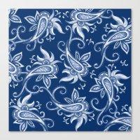 Lace Paisley: Blue Tonal… Canvas Print