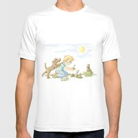 Beginning, Nature, Boy Planting A Seedling, Youth Illustration Mens Fitted Tee White SMALL
