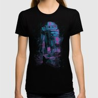 R2D2 Womens Fitted Tee Black MEDIUM