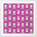 Kawaii Pink Bunny Pattern Art Print