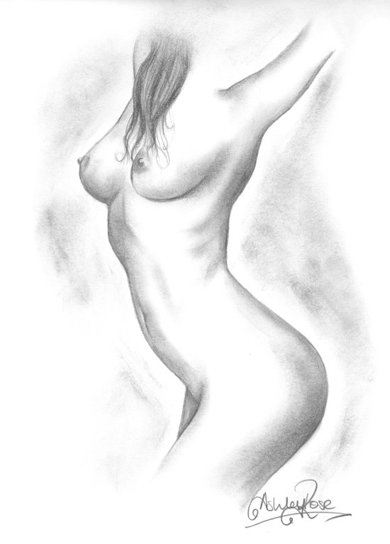 Nude Pencil Drawing - Ashley Rose - Dancer Art Print