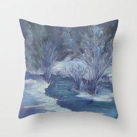 Bear Creek Winter Throw Pillow