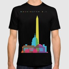 Shapes of Washington D.C. Accurate to scale Black SMALL Mens Fitted Tee