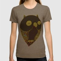 Happy Owl Womens Fitted Tee Tri-Coffee SMALL