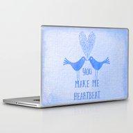 Heartbeat Blue Laptop & iPad Skin