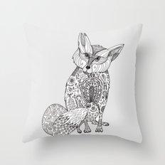 Doodle Fox Throw Pillow