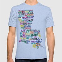 Louisiana Typography Mens Fitted Tee Athletic Blue SMALL