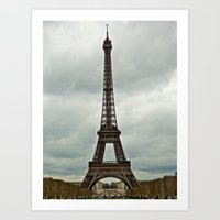 Eiffel Tower On A Cloudy… Art Print