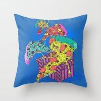 Pizza Eating Pizza - Blu… Throw Pillow
