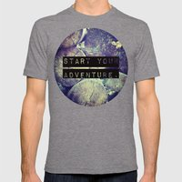Start Your Adventure Mens Fitted Tee Tri-Grey SMALL