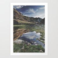 Dream Lake at the mountains. Retro Art Print