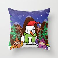Christmas Snowman And Ch… Throw Pillow