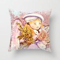 The Caroling Angel Throw Pillow