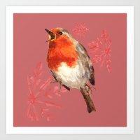 Winter Herald, Robin, Robin Redbreast, Christmas Bird Art Print