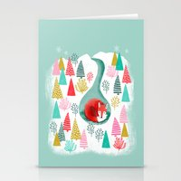 Winter's Fox by Andrea Lauren  Stationery Cards