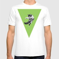 Dancing Cat Mens Fitted Tee White SMALL