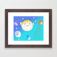Little Fugu (Blue) Framed Art Print