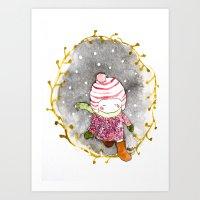 Walk in the snow  Art Print