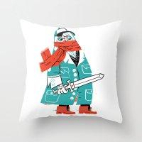 Creepy Scarf Guy Throw Pillow
