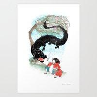 Little Red-San Art Print