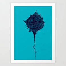 Wicked Wicked Rose (Black and Blue) Art Print