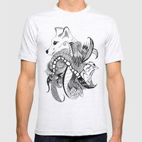 Inking Fox and Bird Mens Fitted Tee Ash Grey SMALL
