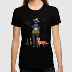 Witch Series: Crystal Ball Womens Fitted Tee Black SMALL
