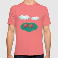 Hearts In The Clouds Mens Fitted Tee Pomegranate SMALL