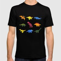 Dinosaurs! Mens Fitted Tee Black SMALL