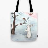 Rabbit In The Winter Sno… Tote Bag