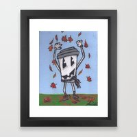 Pumpkin Face Latte Framed Art Print