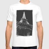 La Tour Eiffel Mens Fitted Tee White SMALL