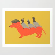 Taxi-Dog (yellow) Art Print