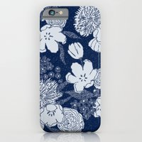 iPhone & iPod Case featuring Sketchy Floral: Navy Tonal by Eileen Paulino