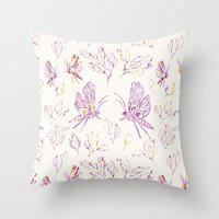 Butterflies In Purple An… Throw Pillow