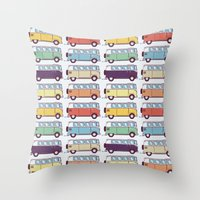 VW Van Parade Throw Pillow