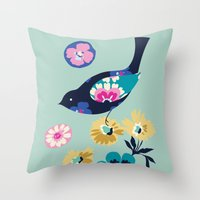 Birds And Blooms 4 Throw Pillow
