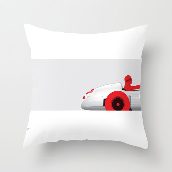 Juan Manuel Fangio, Mercedes W196, 1955 Throw Pillow